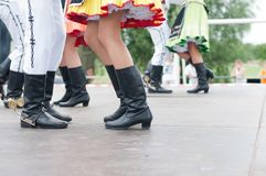 Fragment of Slovak folk dance with colorful clothes royalty free stock photo