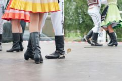 Fragment of Slovak folk dance with colorful clothes Stock Photo