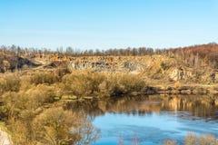 Fragment of the Sluch River near the city of Novograd-Volynsky, Zhytomyr region, Ukraine. Stock Photo