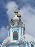 Fragment of Smolny Cathedral on a sunny spring day. Background. Stock Photo