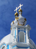 Fragment of Smolny Cathedral on a sunny spring day. Background. Royalty Free Stock Photo