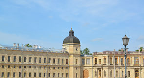 Fragment of the southern facade of the Big Gatchina palace Royalty Free Stock Photos