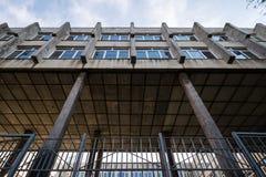 Fragment of soviet modernism brutalist building in Rostov-on-Don, Russia. Fragment of soviet modernism era brutalism style building facade in Rostov-on-Don royalty free stock photo