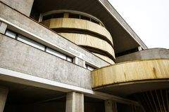 Fragment of soviet modernism brutalist building in Saint-Petersb royalty free stock photography