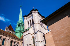 Fragment, Spire and Steeple of St Pierre Cathedral in the old to Stock Images