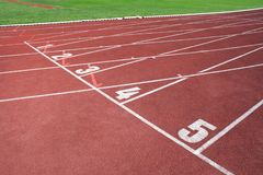 A fragment of a sports field, athletics royalty free stock image