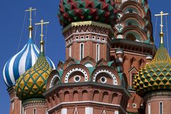 Fragment of St. Basil's in Moscow, Russia. Royalty Free Stock Photos