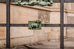 Fragment of St. Vitus Cathedral, Prague, Czech Republic. Decorative figures on the fence of St. Vitus Cathedral in Prague, Czech Republic stock photo