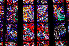 Fragment of stained glass window in the Cathedral of St. Vitus. Royalty Free Stock Photography
