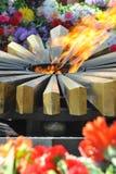 Fragment star eternal flame memorial. Royalty Free Stock Photo