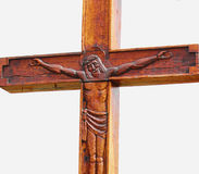 Fragment of statue of crucified Jesus Christ  (an ancient wooden Stock Photography