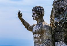 Fragment statue of emperor Augustus Caesar on monte solaro. On island of capri. Campania. Italy royalty free stock images