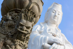 Fragment of the statue of Goddess Guanyin. Keelung city, Taiwan Stock Image