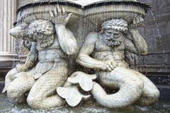 Fragment of statue. Neptune Fountain in Vienna. Royalty Free Stock Image