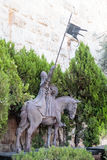 Fragment of the statue with two knights in the old city in Jerusalem  near the Jaffa Gate Stock Image