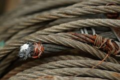 Fragment of the steel rope Royalty Free Stock Images