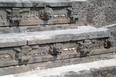 A fragment of the step pyramid in Teotihuacan Royalty Free Stock Photo