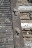A fragment of the step pyramid in Teotihuacan Stock Photos