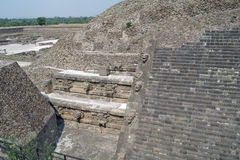 A fragment of the step pyramid in Teotihuacan Stock Photography