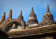 Fragment of stone Borobudur temple in Java, Indonesia. Royalty Free Stock Photos