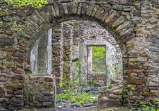 Fragment of stone old ruins overgrown with plants. Fragment of  old ruins built with stone bricks and overgrown with plants, with a decorative gate with an arc Royalty Free Stock Photo