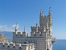 Fragment of the Swallow`s nest lock overlooking the Black Sea. Crimea.  stock photography