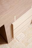 Fragment of table with wooden drawers Stock Image