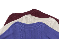 Fragment of three sweaters Royalty Free Stock Photo