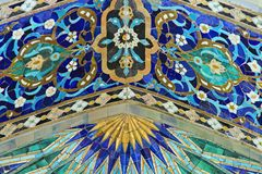 Fragment of tiled wall. With Arabic mosaic of ancient mosque in Saint Petersburg, Russia royalty free stock image