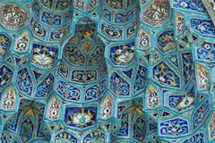 Fragment of tiled wall. With Arabic mosaic of ancient mosque in Saint Petersburg, Russia stock photography