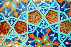 Fragment of tiled wall with mosaic Royalty Free Stock Image