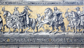 Fragment of a tiled wall panel Procession of Princes Stock Image