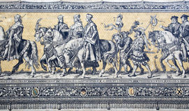 Fragment of a tiled wall panel Procession of Princes Royalty Free Stock Photo