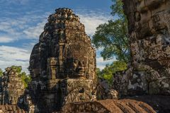 Fragment of Bayon temple in Cambodia royalty free stock image