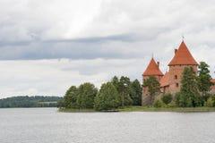 Fragment of Trakai Castle on Lake Galve (Lithuania). Stock Image