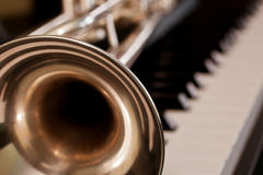 Fragment of the trumpet closeup Stock Image
