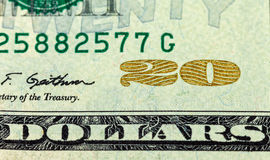 Fragment of twenty dollar bill Royalty Free Stock Photography