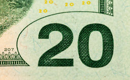 Fragment of twenty dollar bill Stock Photo