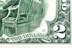 Fragment of two dollar bill. Macro shot. High resolution photo Stock Image