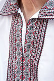 A fragment of Ukrainian embroidered shirt Stock Photography