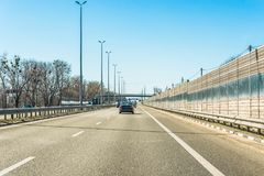 Fragment of the Ukrainian international highway M-highway, connecting Kiev with the Hungarian border near Chop. Royalty Free Stock Photos