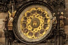 Fragment van Astronomische Klok in Praag Stock Afbeelding