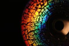 Fragment van CD schijf dat door barsten wordt behandeld Stock Foto