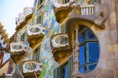 Fragment van de bouw van Casa Batllo in Barcelona in Spanje Stock Afbeelding