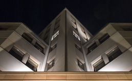 Fragment van de de bouw verlichte nachtscène Stock Foto's