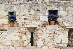 Fragment van de decoratie van de vestingsmuur van Girona tijdens Royalty-vrije Stock Foto's