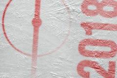 Fragment van de hockeyarena met een centrale cirkel stock foto's