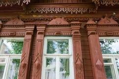 Fragment van de houten bouw van 19de - vroeg - 20 Th-eeuwen, Gome Royalty-vrije Stock Foto's