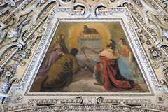 Fragment van de koepel in de Kapel van de Transfiguratie van Jesus, de Kathedraal van Salzburg stock afbeelding