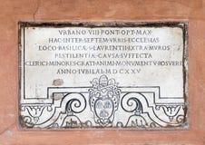 Fragment van de middenleeftijden die narthex of de portiek van San Lorenzo in Lucina verfraaien royalty-vrije stock afbeeldingen
